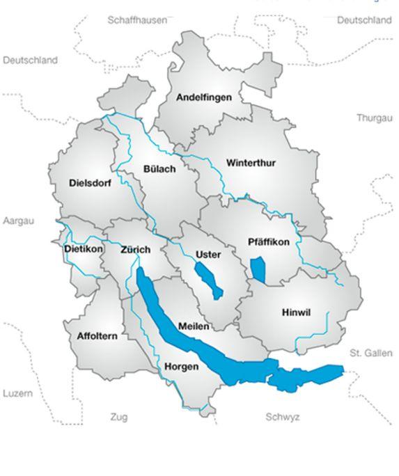 Kantonskarte mit Bezirken